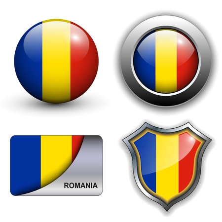 Romania flag icons theme. Vector