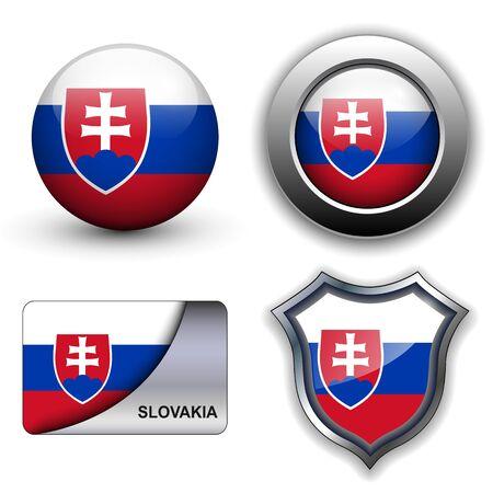 slovakia: Slovacchia bandiera icone tema. Vettoriali