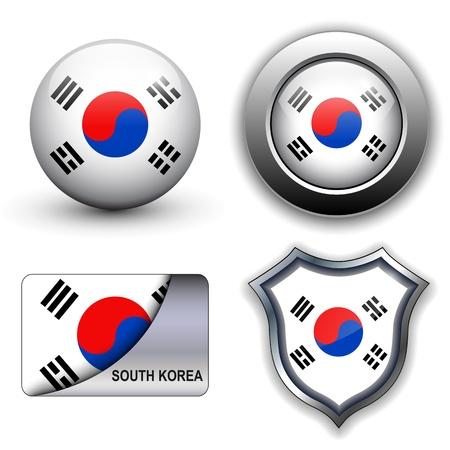 Südkorea Flagge Icon-Set.