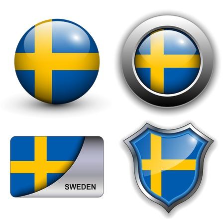 bandera de suecia: Bandera de Suecia, los iconos de tema. Vectores