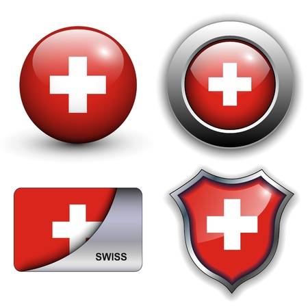 Swiss flag icons theme. Vector