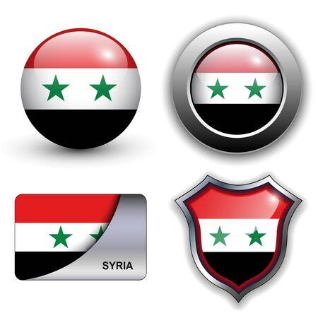 syria: Syrien Flagge Icon-Set. Illustration