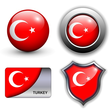 turkish flag: Turkey flag icons theme. Illustration