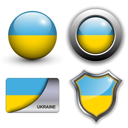 emblem of ukraine: Ukraine flag icons theme.