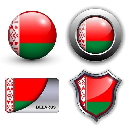 belarus: Belarus flag icons theme. Illustration