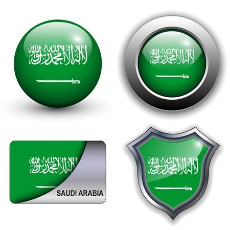 arabia: Saudi Arabia flag icons theme. Illustration