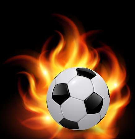 Soccer ball on fire, vector background Vector