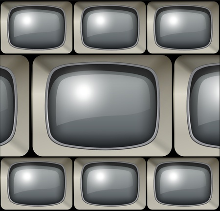 Background with old tv screens as speech bubbles. Vector