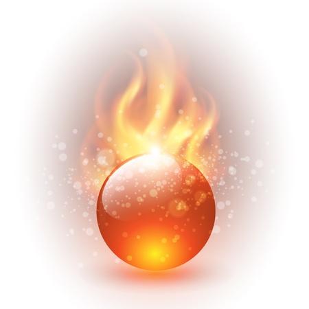 Esfera 3D con llamas de fuego como vectores de fondo.