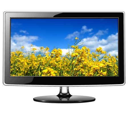 lcd tv monitor isolated on white. photo