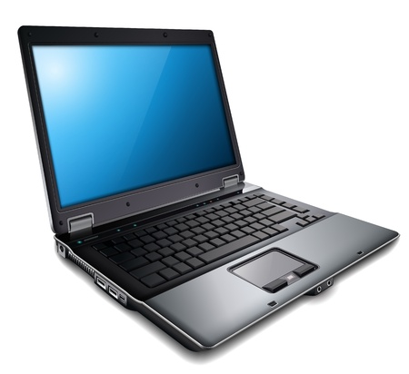 laptop isolated: Ordenador port�til, moderno