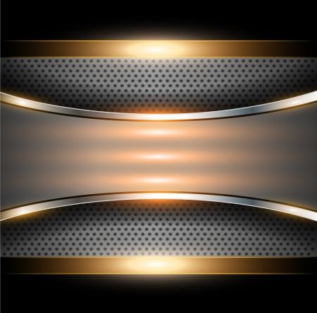on metal: Resumen elegante fondo met�lico de oro, ilustraci�n vectorial.