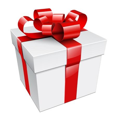 cajas navide�as: caja de regalo con cinta roja