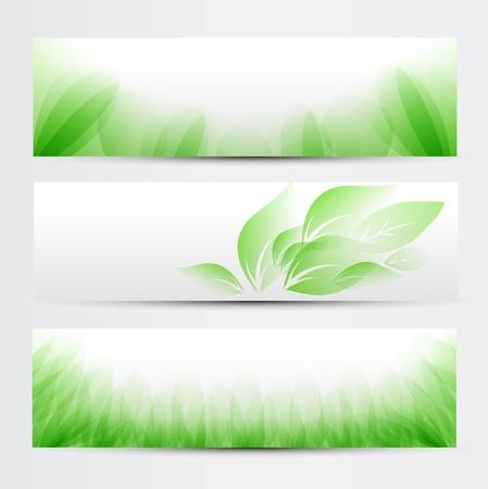 抽象的な緑のバナーを設定、ウェブサイトのためのベクトルのデザイン。