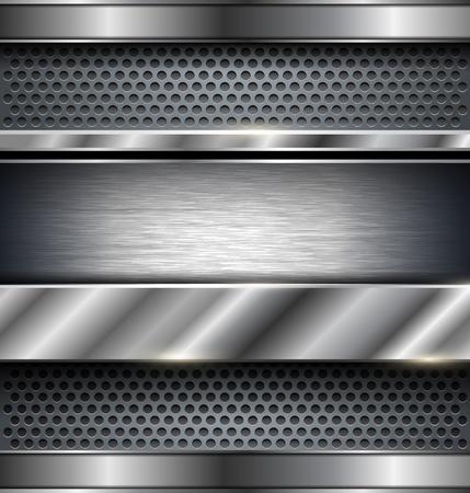 metallic banners: Technology background, metallic vector illustration. Illustration