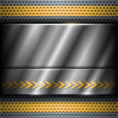 Technology background, metallic with yellow banners. Vector