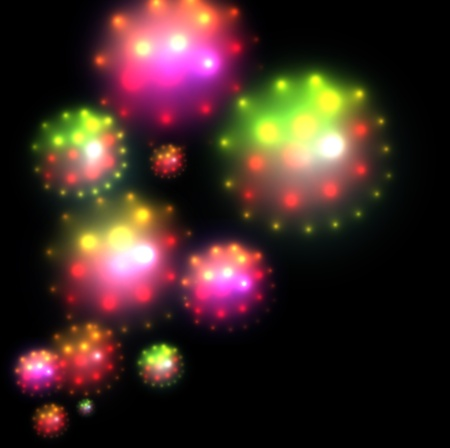 Abstract background colorful glittering balls of light Vector
