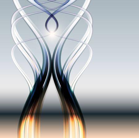 vision future: Abstract transparante lijnen achtergrond, gespiegeld in glas