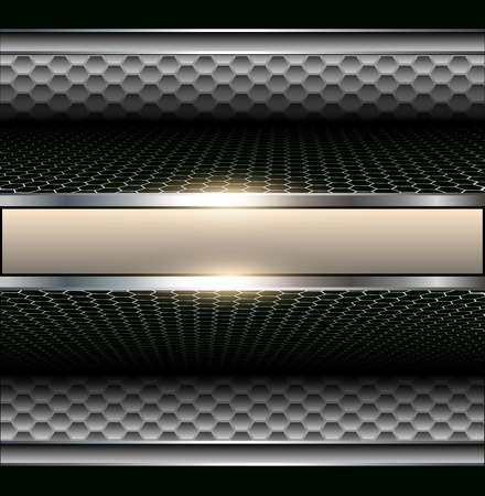 aerodynamic: Background 3d metallic with banner for text.  Illustration