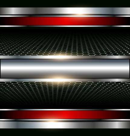 aerodynamic: Abstract metallic background with glossy banner Illustration