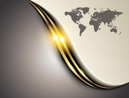 comercio: Empresas fondo gris con la onda de oro.