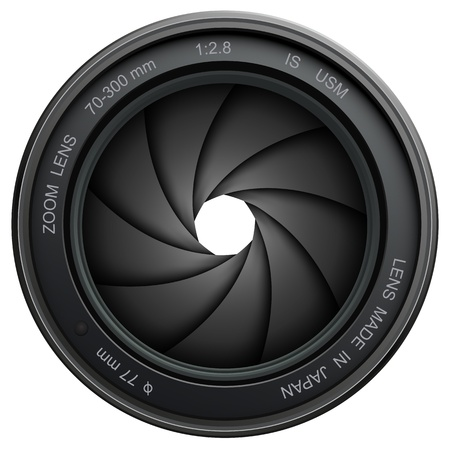 projections: camera lens shutter, isolated on white.