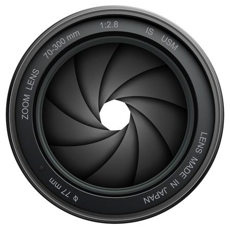 při pohledu na fotoaparát: Objektiv fotoaparátu závěrky, izolovaných na bílém pozadí.