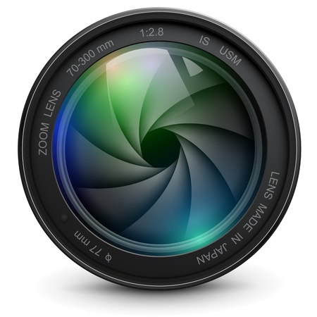 look at camera: camera photo lens with shutter.