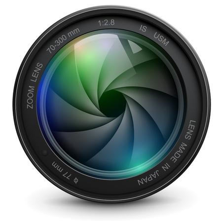 obiettivo della fotocamera foto con otturatore. Vettoriali
