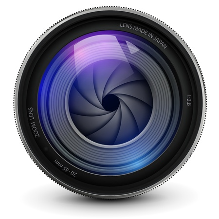 camera photo lens with shutter. Stock Vector - 14623483