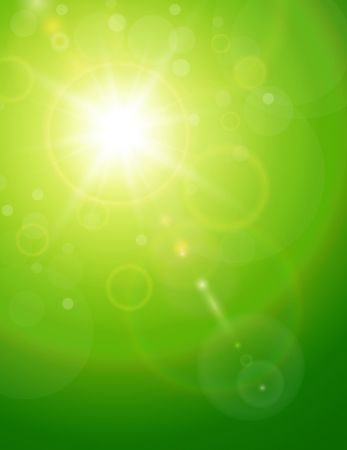 green power: Green natural  background with summer sun and lens flare.
