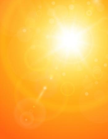 sol: Verano natural de fondo con el sol y la llamarada de la lente. Vectores