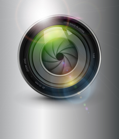 Photography background,  camera photo lens with flare. Vector