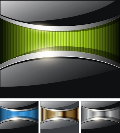 Abstract business backgrounds, glossy black with colorful banner inside. Vector