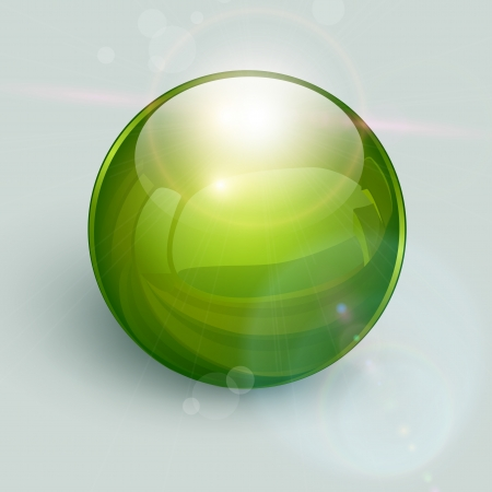 liquid crystal: Green glass ball on background with lens flares