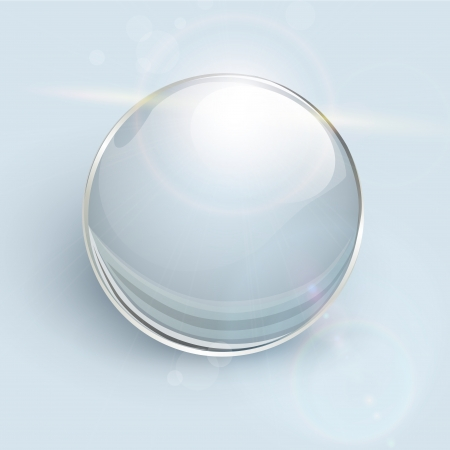 Transparent glass ball on background with lens flares Illustration