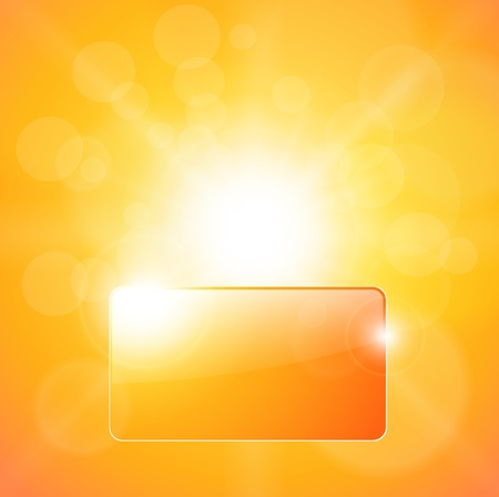 Sunny orange background, with banner for text  Vector