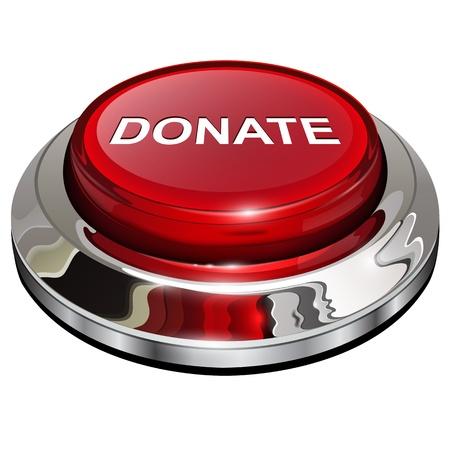Doneren knop, 3d rode glanzende metallic pictogram