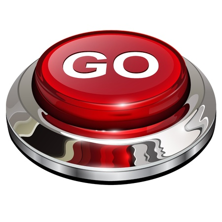 Go button, 3d red glossy metallic icon Vector