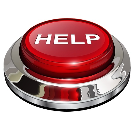 Help-knop, 3d rode glanzende metallic pictogram