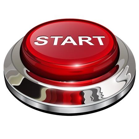 Start-knop, 3d rode glanzende metallic pictogram