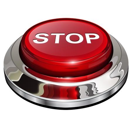 boton stop: Stop, 3d icono rojo brillante met�lico Vectores