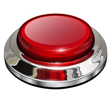 Red web button with chrome, metallic elements, isolated. Illustration