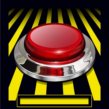 panic button: Red alarm chrome shiny button background