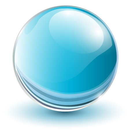 crystal clear: 3D glass sphere blue, vector illustration.