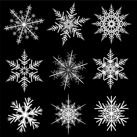 snow flakes: Snowflakes winter set,  realistic design.