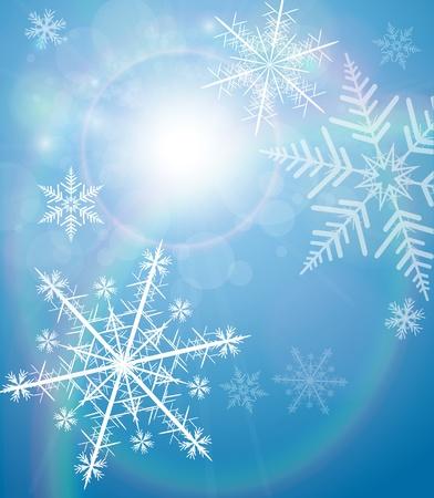 Winter achtergrond met sneeuwvlokken Vector Illustratie