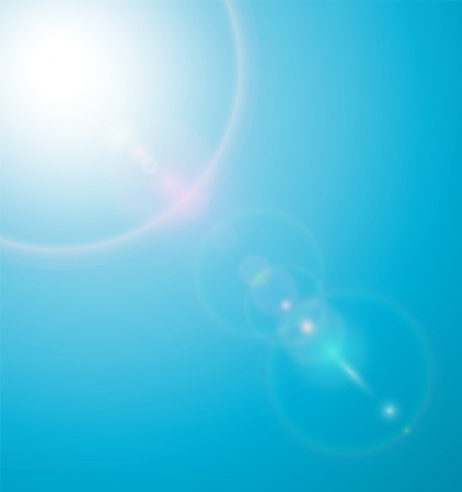 Sun on blue sky with lenses flare  illustration