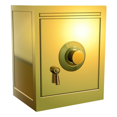 safes: Security gold safe icon isolated, vector illustration.