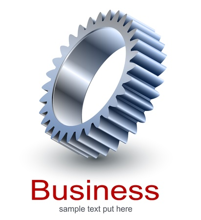 merken: Logo design, technologie metallic versnelling.